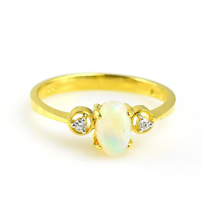 Copy of 14K Gold Diamond Ethiopian Opal Delicate Ring Jewelry