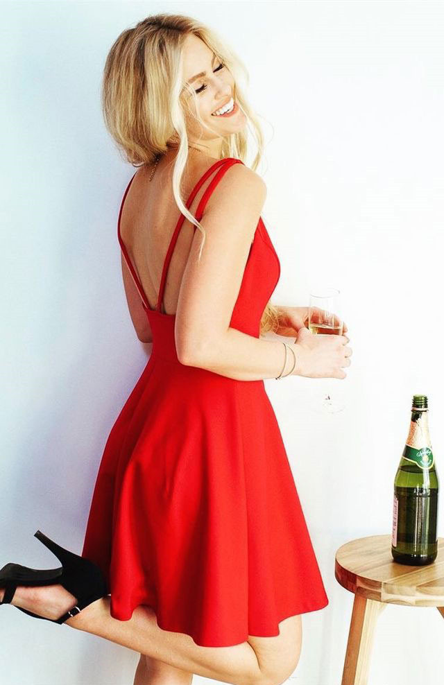 Short Red Prom Dress Homecoming Dress, Cute Party Dress