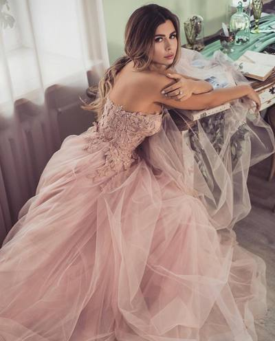 Romantic A-line Strapless Pink Long Prom Dress