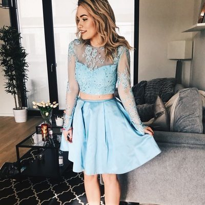 Long Sleeves Sky Blue Short Homecoming Dress