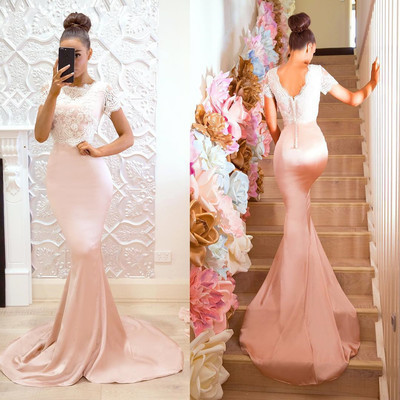 Gorgeous Pink and White Mermaid Long Formal Evening Dress