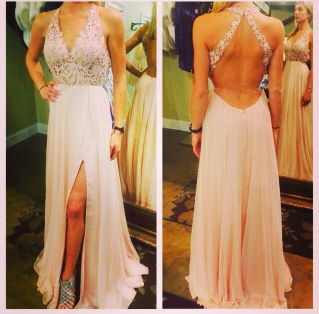 Halter Pink Party Dresses With Appliques, Vintage 2017 Sexy Open Back Chiffon A