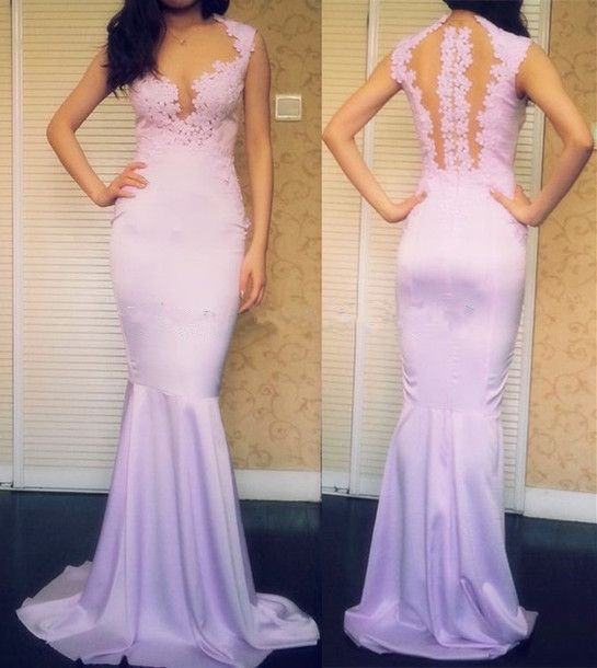 Lavender Lilac Lace Prom dresses, Mermaid Prom dresses  Mermaid Prom Dress, Lace