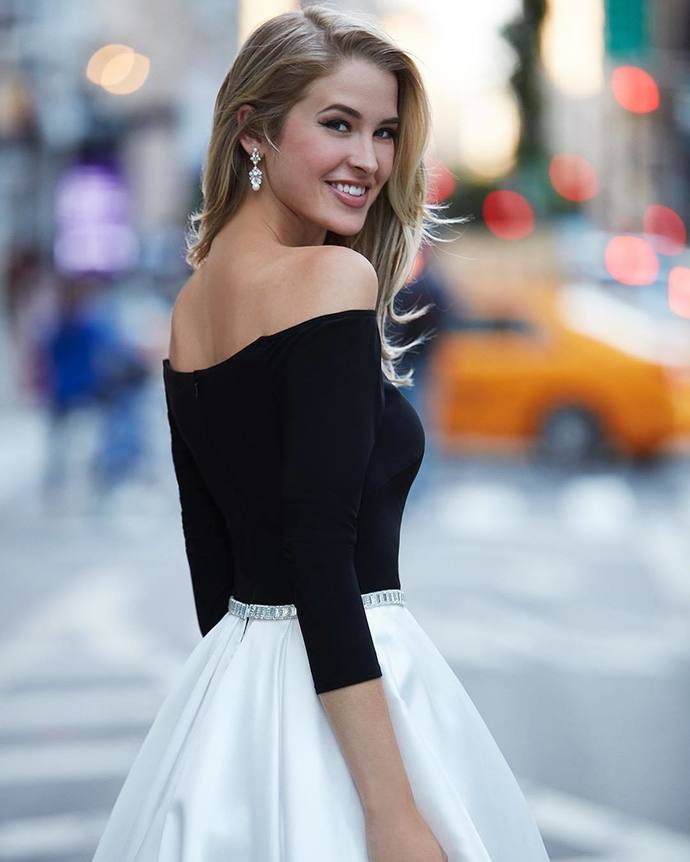 Off the Shoulder Black and White Half Sleeves Evening Dress, Party Dress