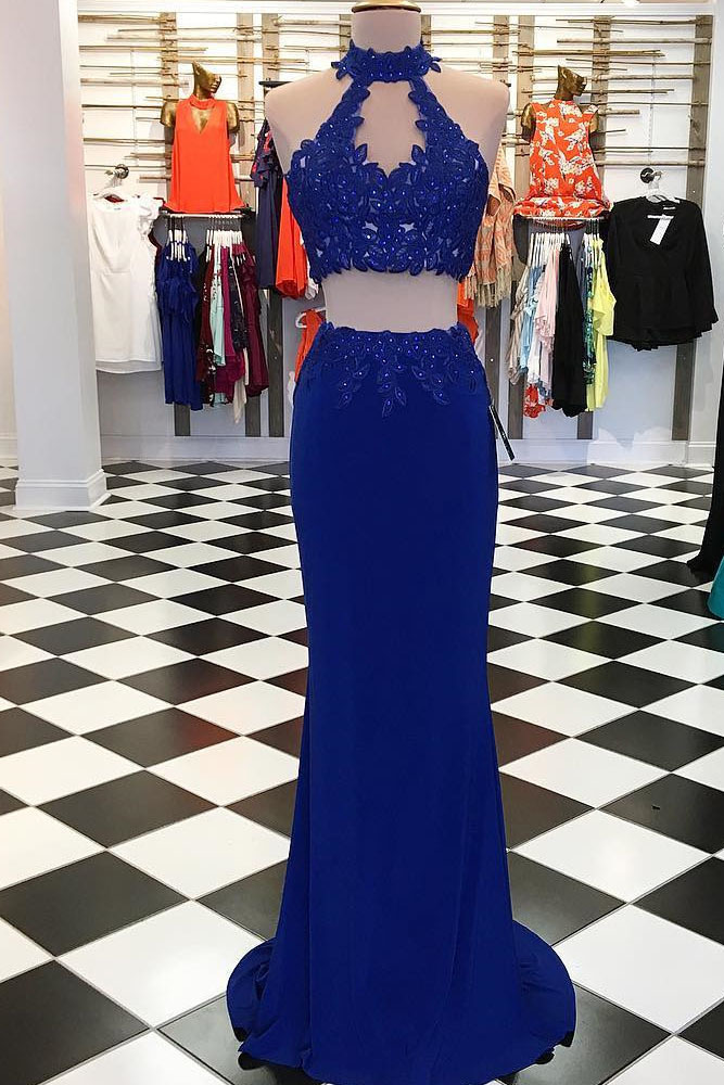 Two Piece Prom Dress, Blue Long Prom Dress, Open Back Evening Dress