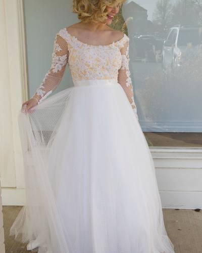 Long Sleeves White Prom Dress Party Dress with Appliques