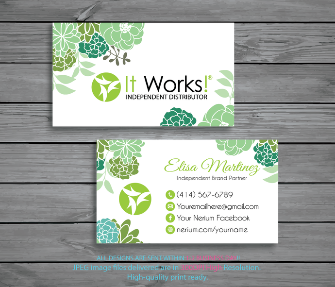 personalized it works business cards it works business cards green cards - It Works Business Cards