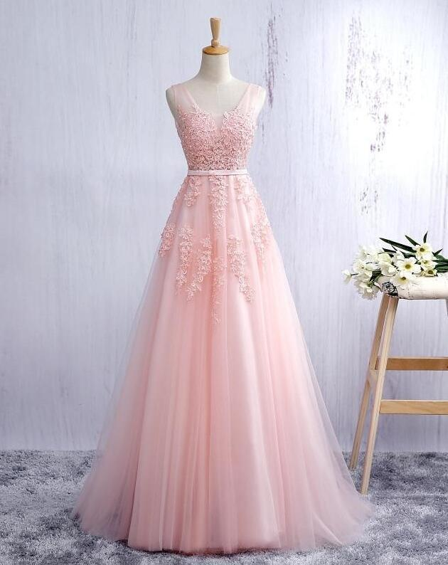 afc51a163f Women's V Neck Light Pink Tulle Prom Dress by prom dresses on