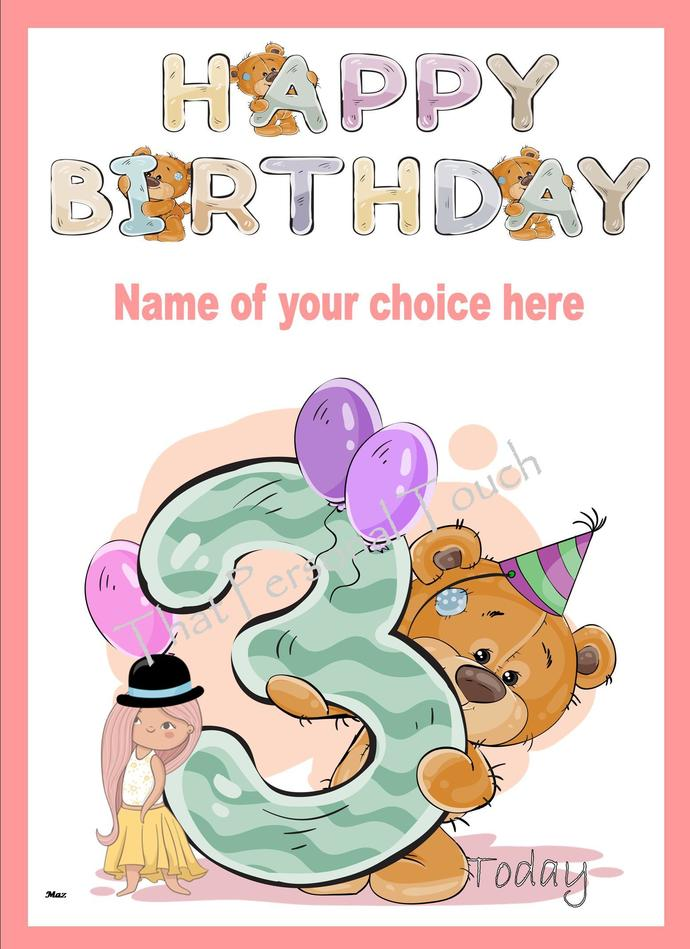 Personalised Childrens Age Birthday By That Personal Touch On