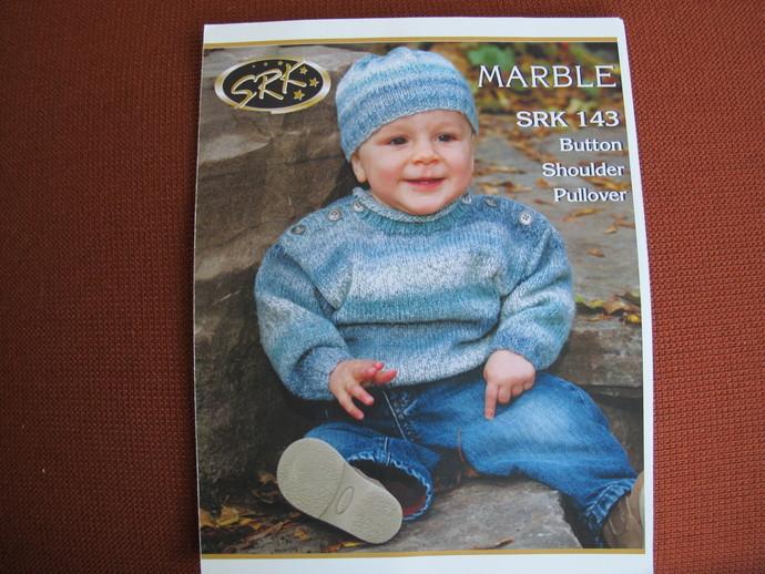 SRK 143 Button Shoulder Pullover knitting pattern / S. R. Kertzer Marble knitted