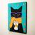 Black Cat in a Scarf Autumn Coffee Original Cat Folk Art Painting