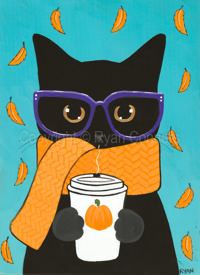 Black Cat in a Scarf Autumn Coffee Original Cat Folk Art Painting