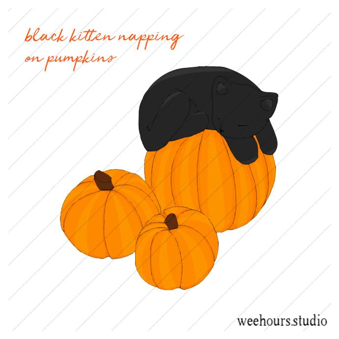 Kitten Sleeping on Pumpkins vector for digital scrapbooking, stamps, stationery,