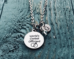 Thank you, Worlds coolest, Wedding, Minister, Pastor, Officiant, Wedding Officiant, Thank you Gift, Silver Necklace, Charm Necklace, Gifts
