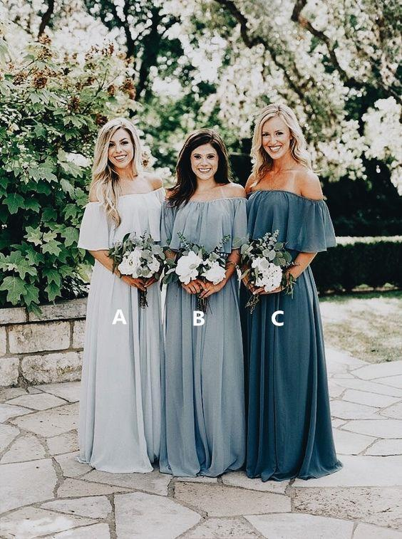 Long Chiffon Off the Shoulder Slate Gray Mismatched Bridesmaid Dresses Cheap