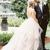 Spaghetti Strap V Neck Silver Grey Ball Gown Wedding Dresses with Tulle Ruffles