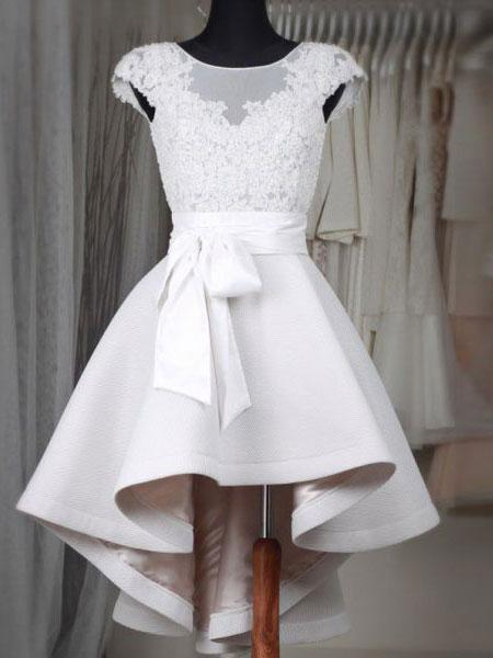 Princess High Low Short Wedding Dresses Ivory Satin with Lace Appliqued