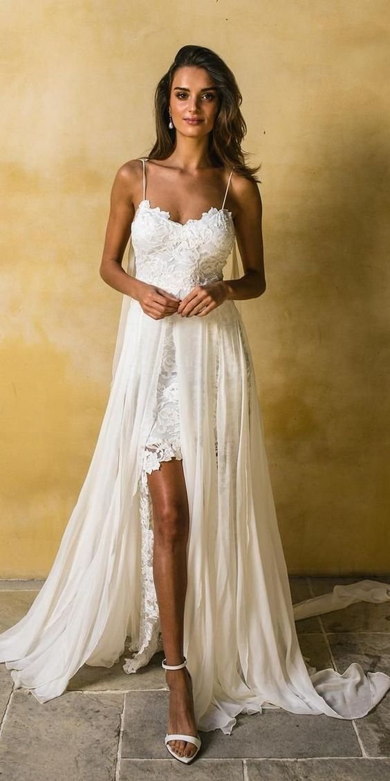 White Chiffon with Lace Appliqued Spaghetti Strap Beach Wedding Dresses