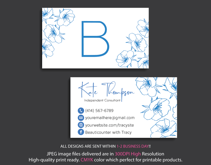 Beautycounter Business Card, Watercolor Flower Business Card, Personalized