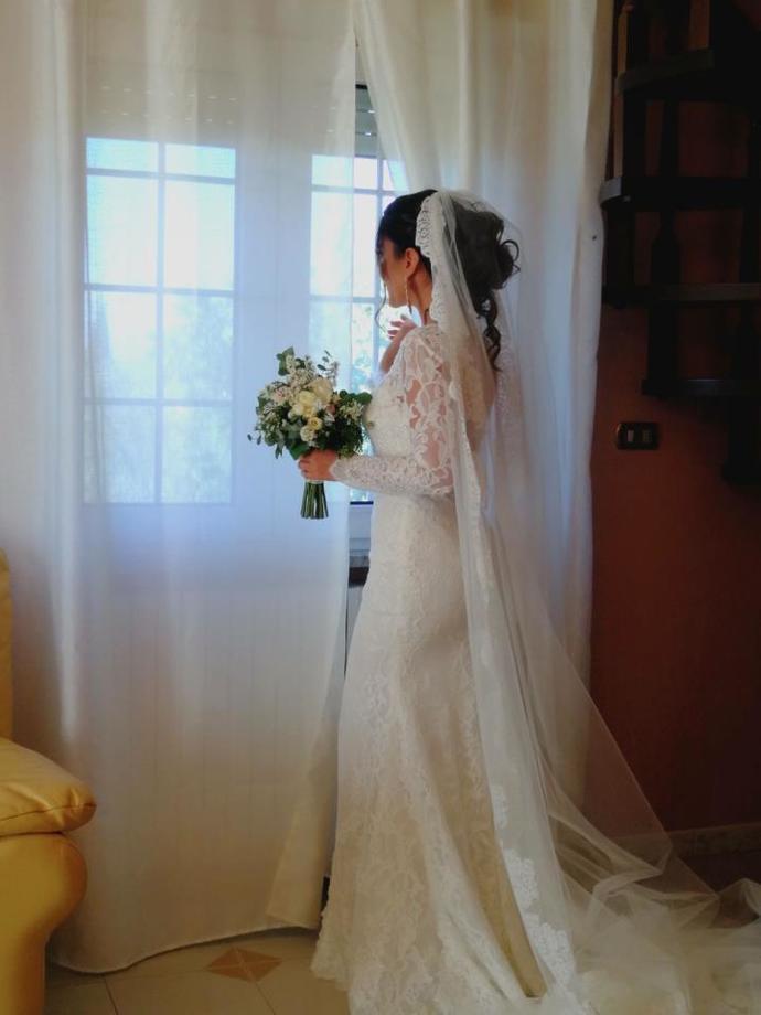See Through Long Sleeve Lace Wedding Dresses Mermaid Wedding Dress with Slit