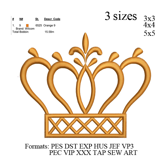 Crown embroidery machine, Crown embroidery design embroidery pattern No 689 ...