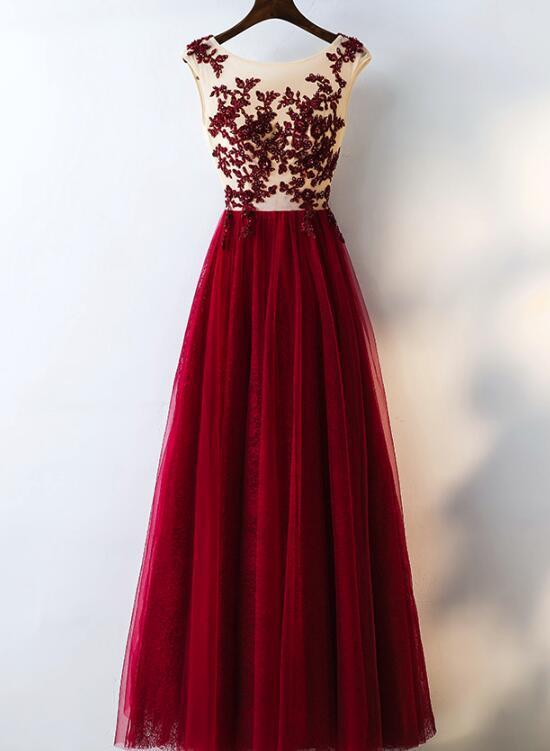 Gorgeous Formal Gown, Burgundy Tulle Junior by BeMyBridesmaid on