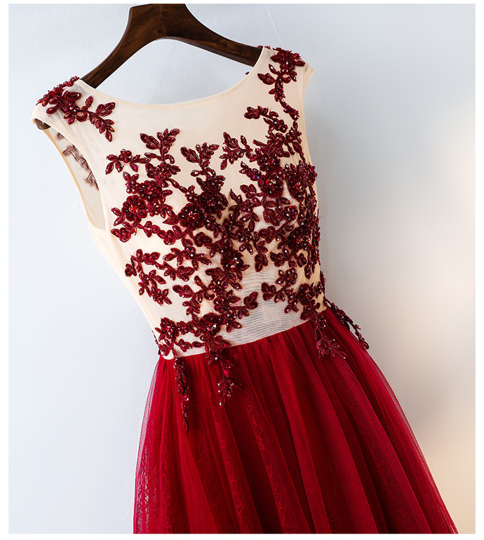 Gorgeous Formal Gown, Burgundy Tulle Junior Prom Dress 2019