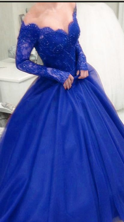 Royal Blue Off Shoulder Ball Gown Evening Dress, Lace and Tulle Formal Dress