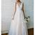 Lace Applique Ivory and Champagne Wedding Dresses V Neck Beach Wedding Dress