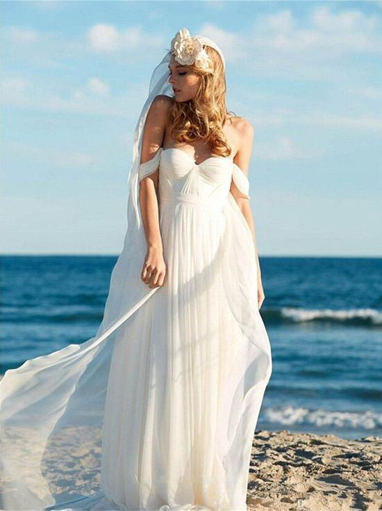 A-line Ivory Chiffon Off the Shoulder Summer Beach Wedding Dresses