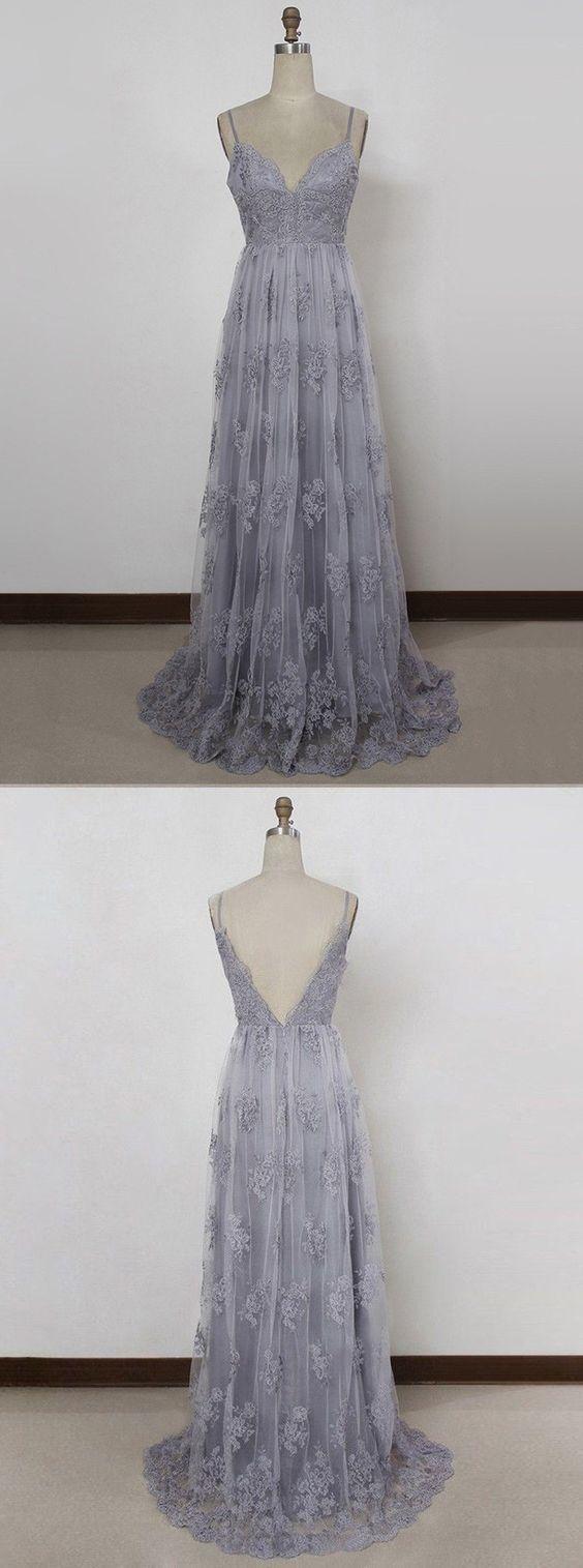 Grey Straps Junior Prom Dress 2019, Lace Elegant Formal Dress