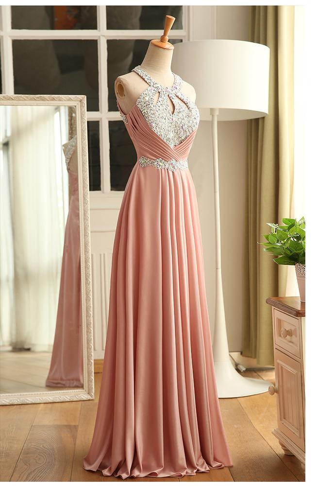 Pink Halter Sequins Satin Long Formal Gown, Pink Evening Dress 2019