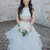 Two Piece White Wedding Dresses Ruffle Skirt Ball Gown Wedding Dress