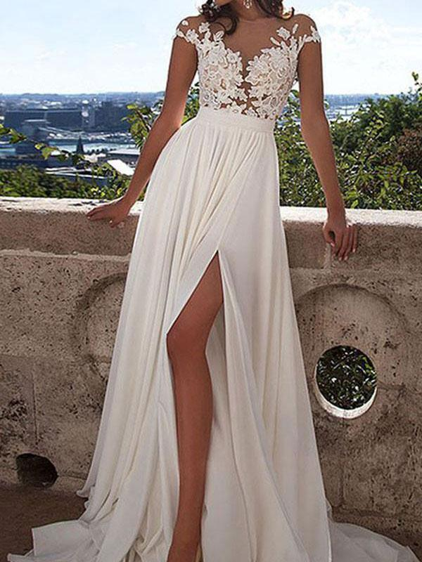 See-through Lace appliqued Chiffon Beach Wedding Dresses with Slit