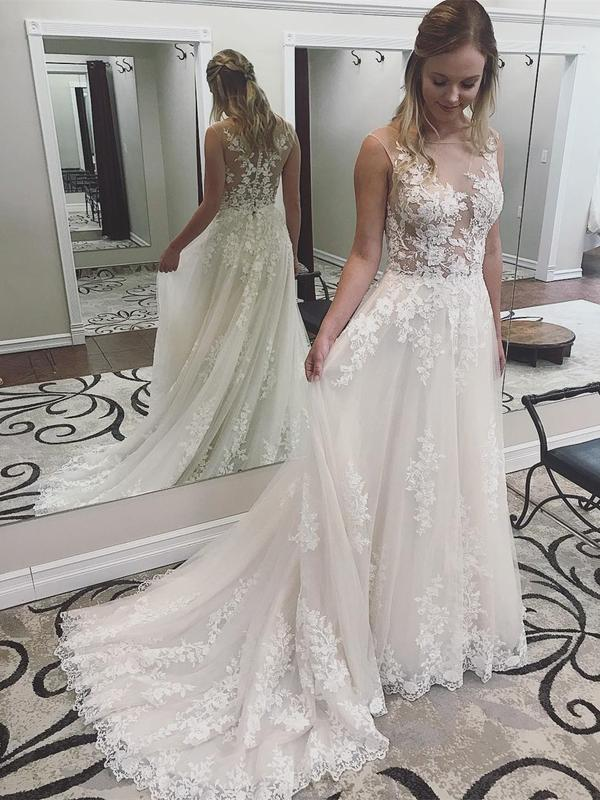 Ivory Lace Wedding Dresses See Through Applique Bridal Dress with Court Train