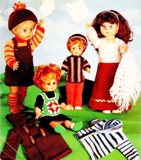 Instant PDF Download Vintage Row by Row PDF Knitting Pattern to make Dolls