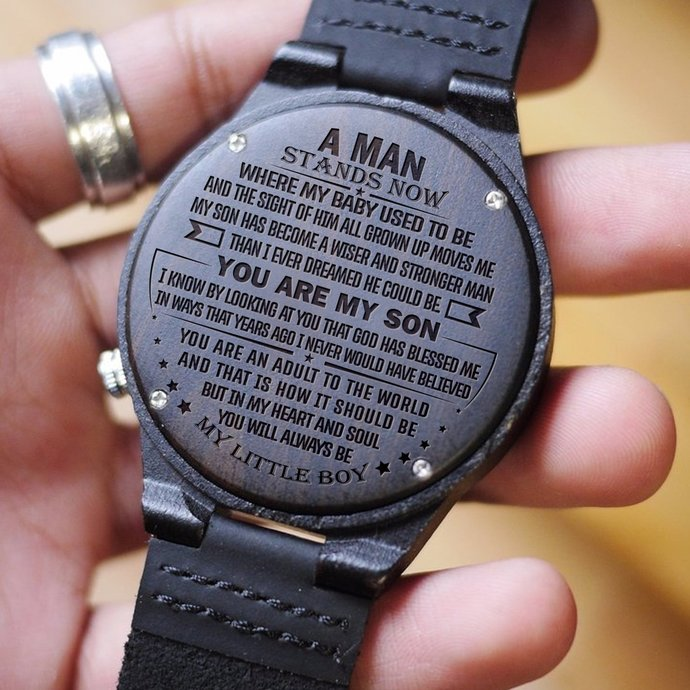 Men Watch - Great Gift For Son Engraved Wooden Watch