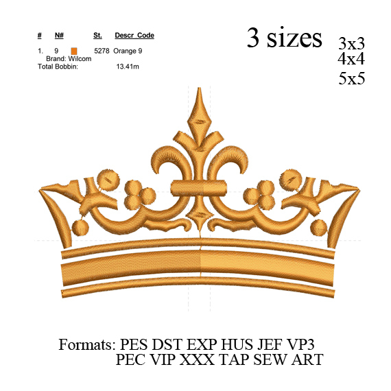 Crown embroidery machine, Crown embroidery design embroidery pattern No 695 ...