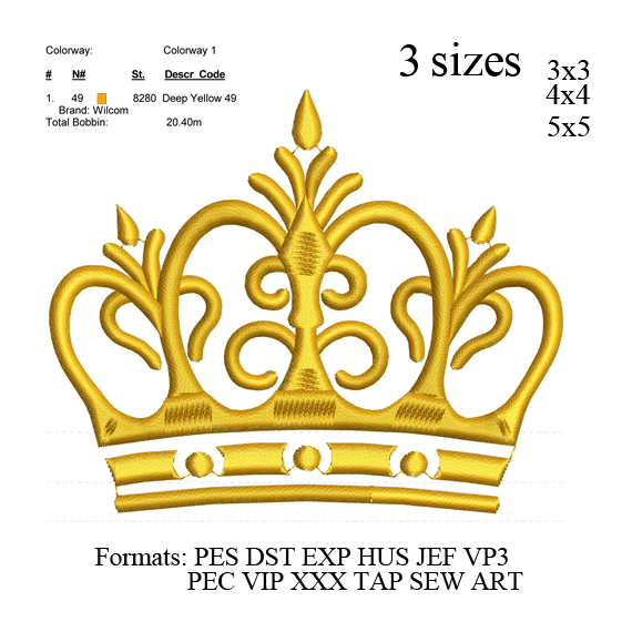 Crown embroidery machine, Crown embroidery design embroidery pattern No 698 ...
