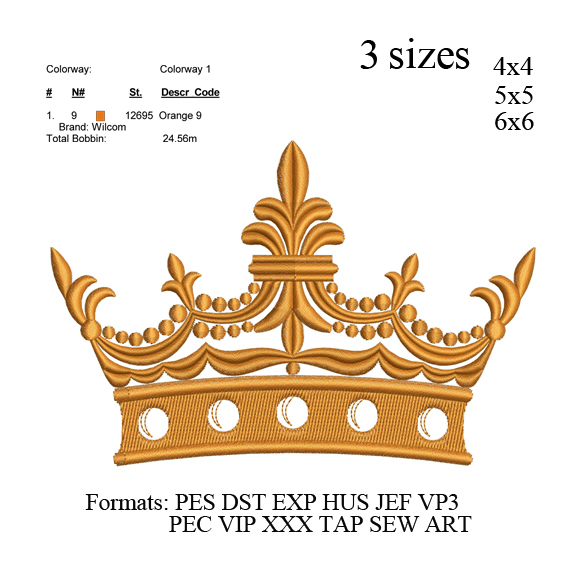 Crown embroidery machine, Crown embroidery design embroidery pattern No 699 ...