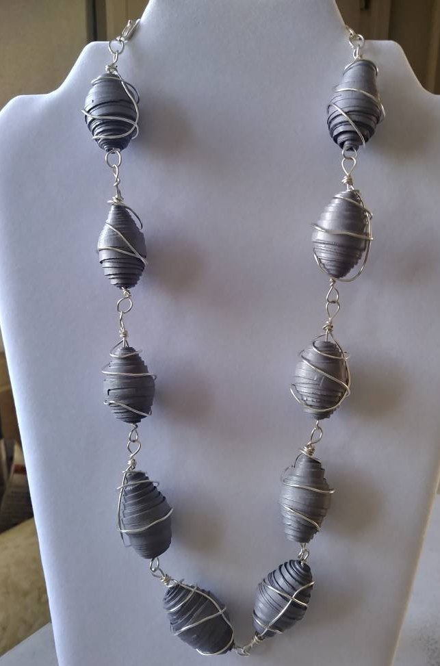 Gray Wire-Wrapped Paper Bead Necklace by Elle\'s Jewelry on Zibbet
