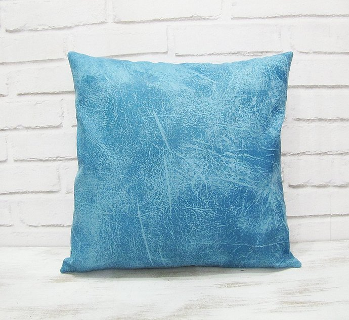 Ready to ship/Light blue thick vegan leather fabric pillow cover/modern