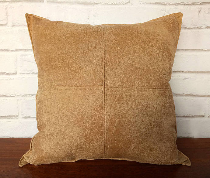 Fast shipping/Mustard  faux leather fabric piecewise square design  pillow cover