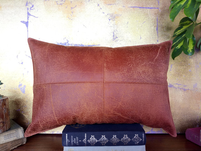 Fast Shippin/Piecewise square design terracotta brown faux leather pillow with