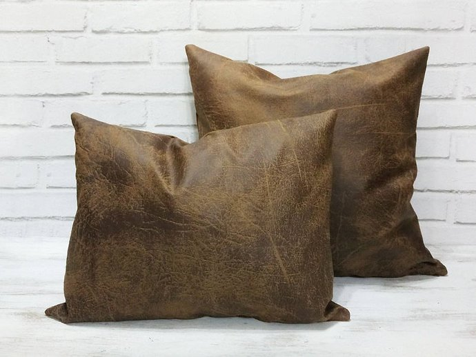 Fast shipping/Natural brown vegan leather fabric pillow cover/modern