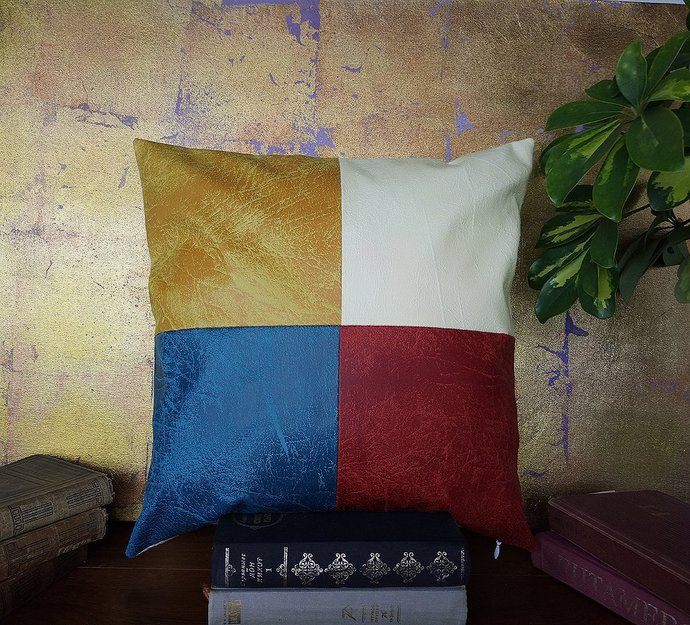 Ready to ship/red-blue-yellow-white vegan leather fabric piecewise square pillow