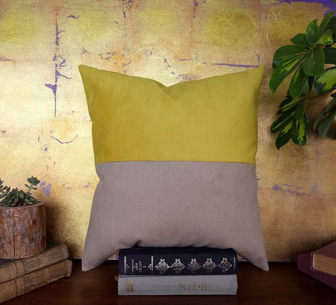 Ready to ship/Beige faux suede fabric and yellow faux suede  pillow cover/modern