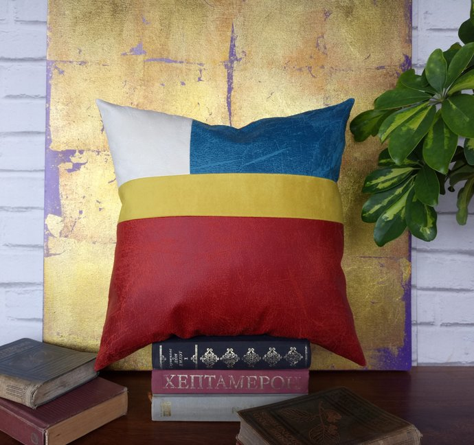 Ready to ship/red-blue-yellow-white vegan leather fabric pillow cover/modern