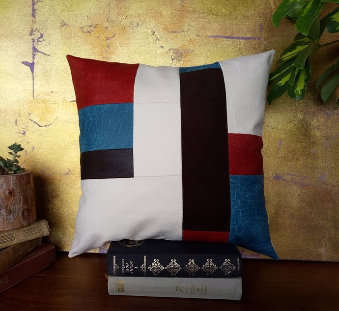 Ready to ship/red-blue-white-black vegan leather fabric patch pillow and