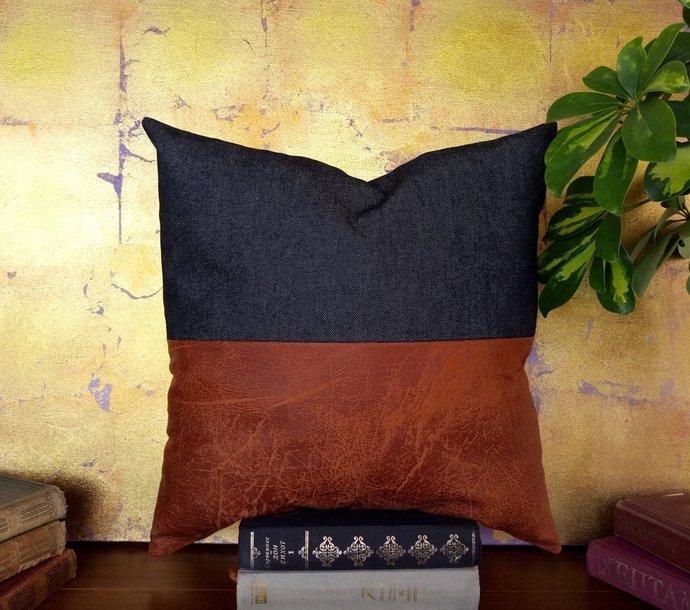 Fast shipping/Terracotta brown faux leather fabric and denim  pillow cover -16